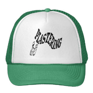 man plastering hat