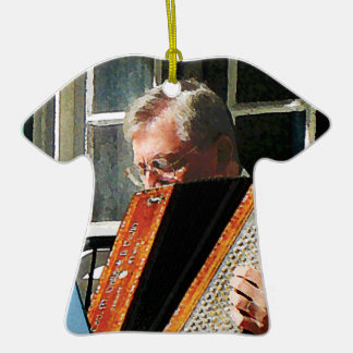 Man Playing Accordion Double-Sided T-Shirt Ceramic Christmas Ornament