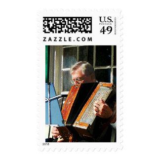 Man Playing Accordion Postage