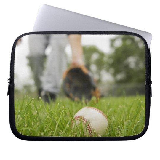 Man playing baseball laptop sleeve