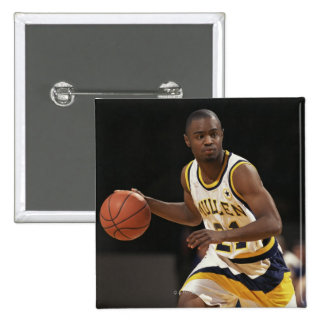 Man playing basketball 2 2 inch square button