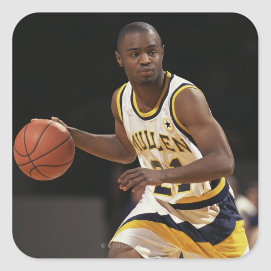 Man playing basketball 2 square sticker