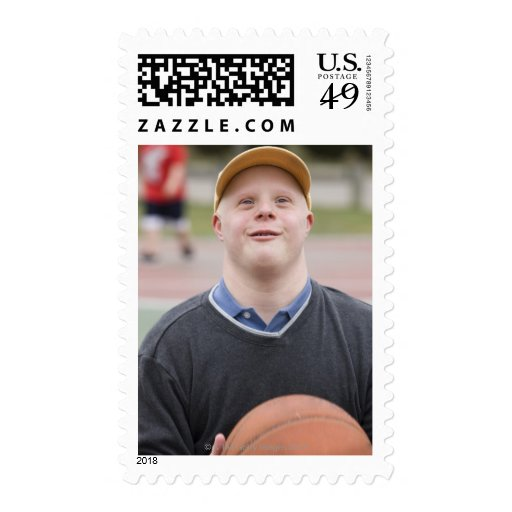 Man playing basketball postage stamps