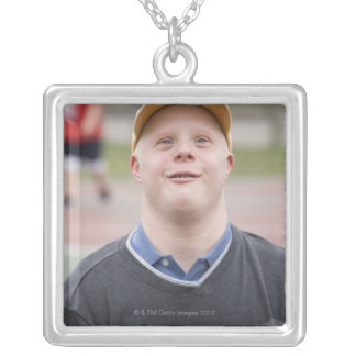 Man playing basketball square pendant necklace