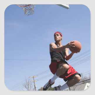 Man Playing Basketball Square Sticker