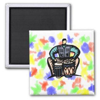 Man Playing Bongos Stylized Graphic Magnets