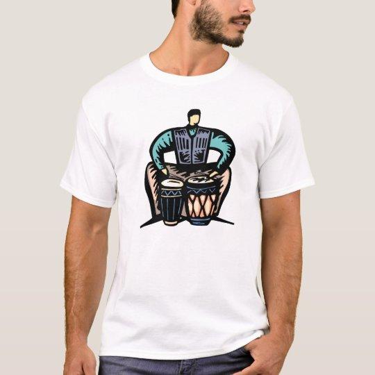 Man Playing Bongos Stylized Graphic T-Shirt