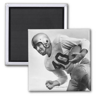 Man Playing Football 3 2 Inch Square Magnet