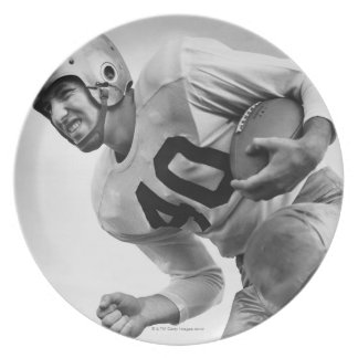 Man Playing Football 3 Party Plate