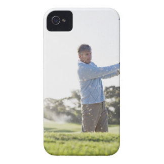 Man playing golf in sand trap iPhone 4 Case-Mate case
