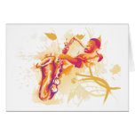 Man Playing Jazzy Saxophone Watercolor Style Card