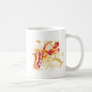 Man Playing Jazzy Saxophone Watercolor Style Coffee Mug
