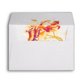 Man Playing Jazzy Saxophone Watercolor Style Envelope