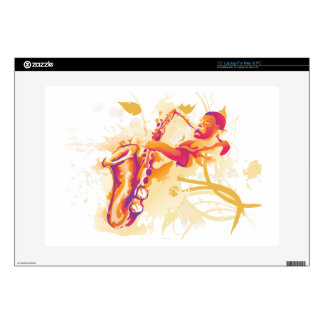Man Playing Jazzy Saxophone Watercolor Style Laptop Decals