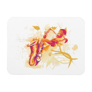 Man Playing Jazzy Saxophone Watercolor Style Magnet