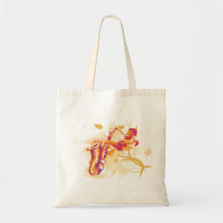 Man Playing Jazzy Saxophone Watercolor Style Tote Bag
