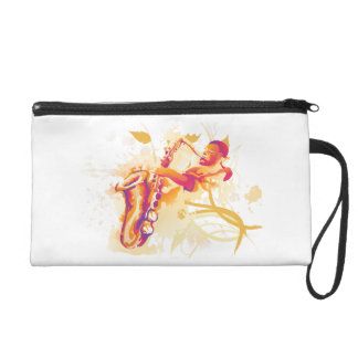 Man Playing Jazzy Saxophone Watercolor Style Wristlet