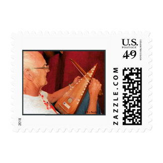 Man Playing Psaltery Postage