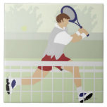 Man playing tennis 2 ceramic tile