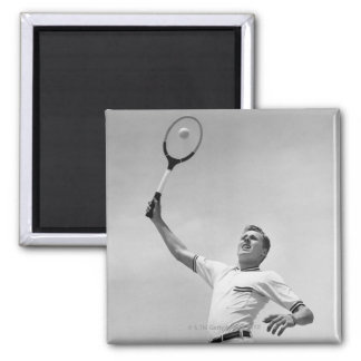 Man playing tennis 2 inch square magnet