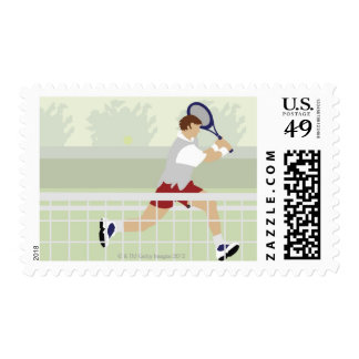 Man playing tennis 2 postage