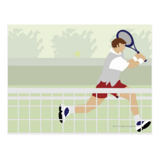 Man playing tennis 2 postcard