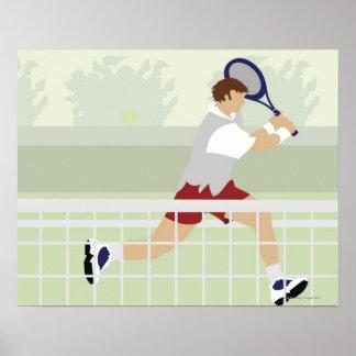 Man playing tennis 2 poster
