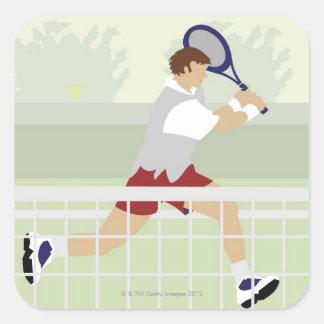Man playing tennis 2 square sticker