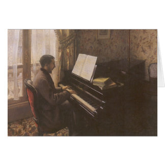 Man Playing The Piano by Caillebotte, Vintage Art Greeting Card