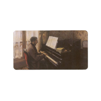 Man Playing The Piano by Caillebotte, Vintage Art Address Label