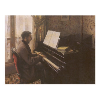 Man Playing The Piano by Caillebotte, Vintage Art Postcard