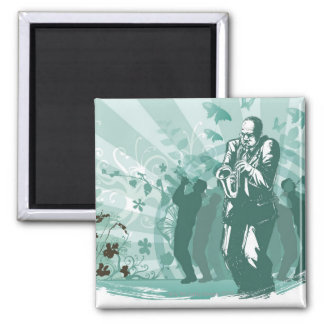 Man Playing The Trumpet 2 Inch Square Magnet