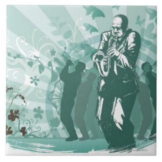 Man Playing The Trumpet Ceramic Tile