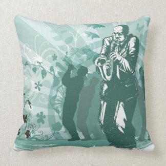 Man Playing The Trumpet Throw Pillows