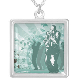 Man Playing The Trumpet Square Pendant Necklace