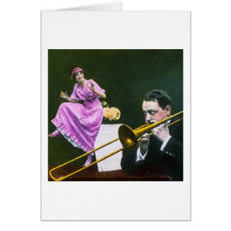 Man plays trombone Flapper  dances on table Card