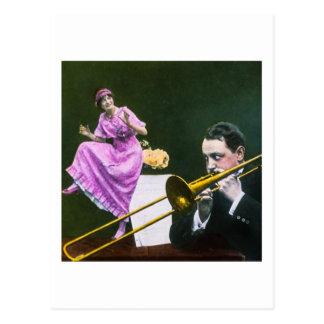 Man plays trombone Flapper  dances on table Postcard