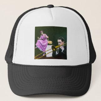 Man plays trombone Flapper  dances on table Trucker Hat