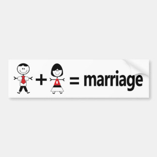 Man Plus Woman Equals Marriage Bumper Sticker