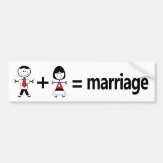 Man Plus Woman Equals Marriage Car Bumper Sticker