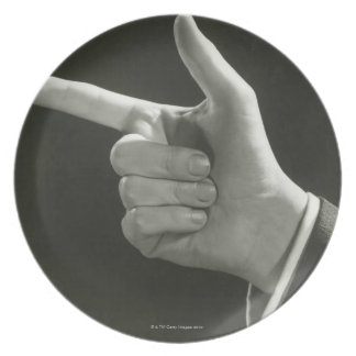 Man Pointing Plate