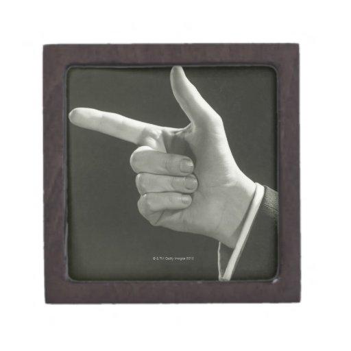 Man Pointing Premium Jewelry Box