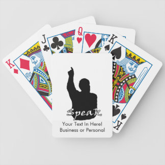 man pointing up shadow speak text black white bicycle playing cards