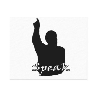 man pointing up shadow speak text black white canvas print