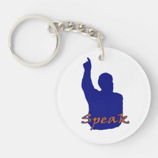 man pointing up shadow speak text blue orange keychain
