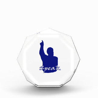 man pointing up shadow speak text blue white acrylic award