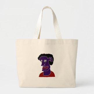 Man Portrait Caricature Large Tote Bag