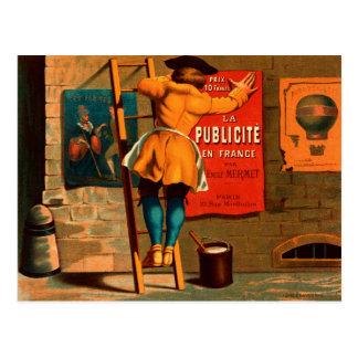 Man posting an advertisement postcard