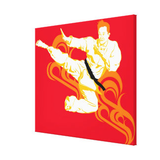 Man practicing martial arts, performing mid air canvas print