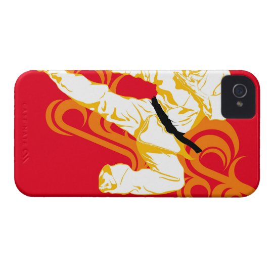 Man practicing martial arts, performing mid air iPhone 4 Case-Mate case